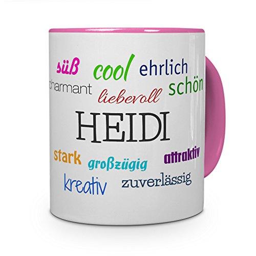 printplanet Tasse mit Namen Heidi - Positive Eigenschaften von Heidi - Namenstasse, Kaffeebecher, Mug, Becher, Kaffeetasse - Farbe Rosa