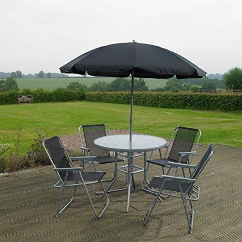 Garden Mile® - Lot de 6 articles de mobilier de jardin extérieur - Ensemble de salle à manger 4 places avec table à plateau en verre, 4 chaises pliantes et parasol - Pour terrasse ou balcon