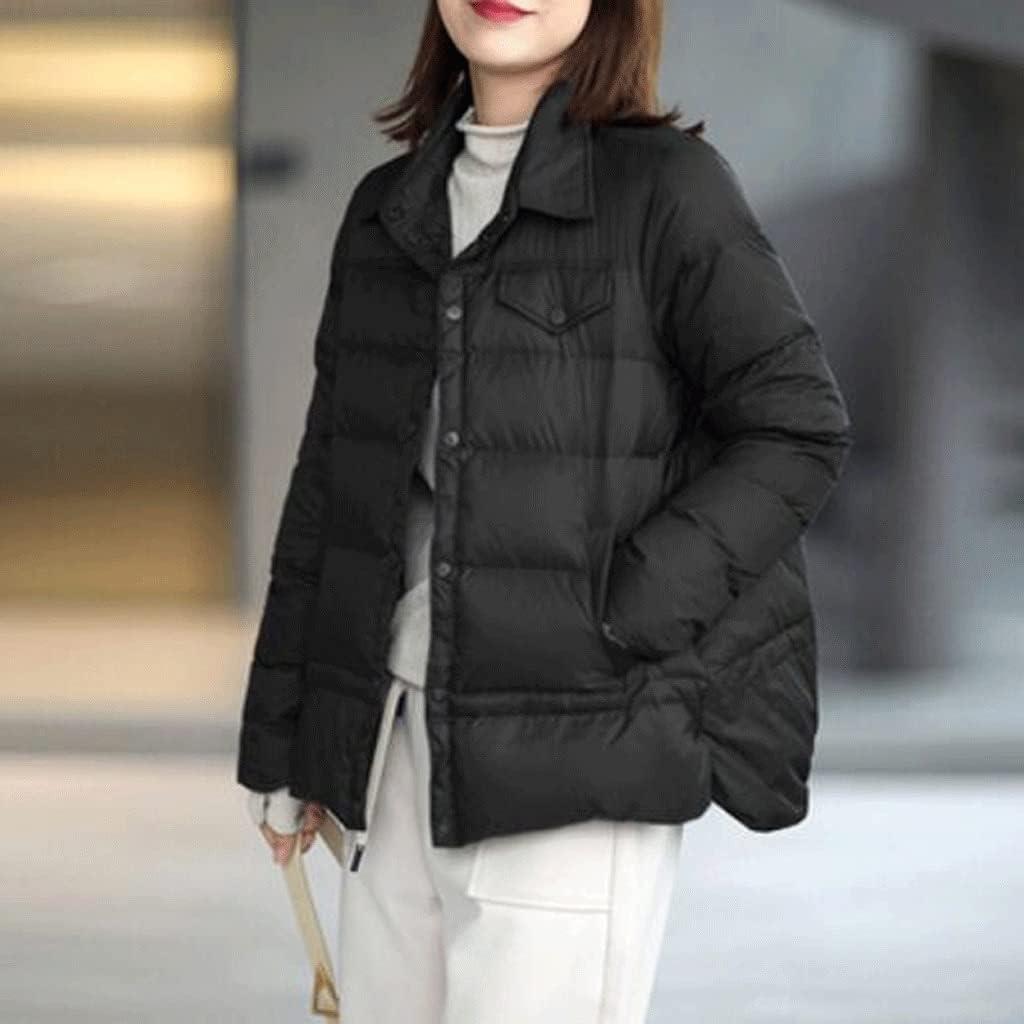 CHNOOI Spring Fashion Duck Down Coat Women Slim Warm Jackets Autumn Casual Pocket (Color : Black, Size : XL Code)