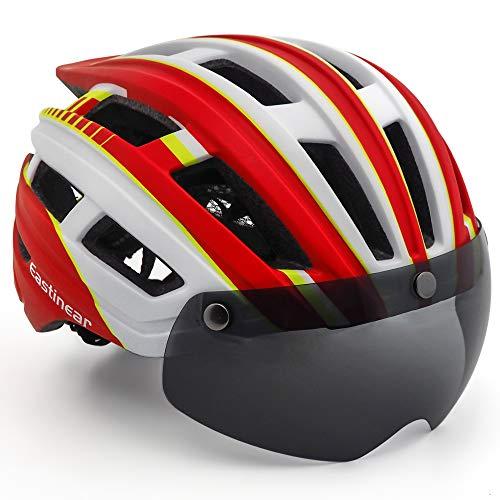 EASTINEAR Casco MTB Leggero Casco Bici per Adulti con Visiera Magnetica Fanale Posteriore LED di Sicurezza per Protezione 57-61CM (Rosso Bianco)
