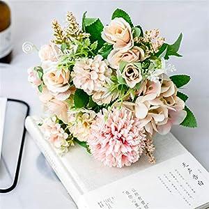 Artificial Flowers Artificial Flowers Rose Silk Bouquet for Decoration Camellia Artificial Peony Rose Wedding Home DIY Decor Fake Flower Pink Wedding Bouquets