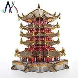 YUELAI 3D Metal Puzzle,Chinesischer Pavillon Gebäude-gelber Crane Tower-Metallgebäudemodell, DIY-Puzzlespielspielzeug