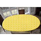 LCGGDB Yellow Elastic Polyester Fitted Table Cover,Quatrefoil Moroccan Themed Ancient Geometric Ombre Pattern Artwork Decorative Oblong/Oval Elastic Fitted Tablecloth,Fits Tables up to 48' W x 68' L