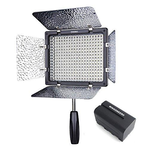 (mit Akku und Ladegerät) Yongnuo YN-300 LED Videoleuchte 5500K LED-Videoleuchte mit 300pcs LED Video Licht Dimmen Licht mit IR-Fernbedienung für Canon Nikon SLR Kamera Camcorder DV Camcorder Upgrade von YN160 YN160S CN 160