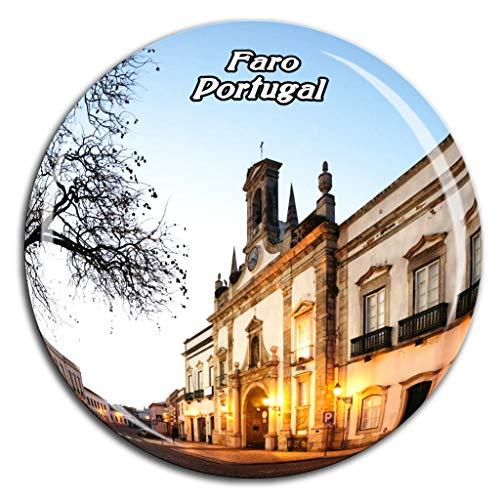 Weekino Casco Antiguo Faro Portugal Imán de Nevera Cristal 3D Cristalino Recorrido Turístico de la Ciudad Recuerdo Regalo Fuerte Etiqueta Engomada del refrigerador