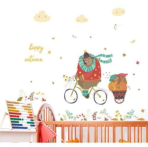 hfwh Muurtattoo - Cartoon Schattig Fietsen Beer voor kinderkamer kinderkamer slaapkamer wanddecoratie afneembare vinyl sticker DIY kunst muur muurschilderingen 50x70cm