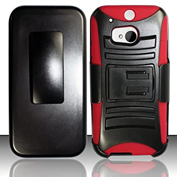 TRENDE - Cover For HTC One  M8  / HTC One 2 Heavy Duty Armor Style 2 Case w/ Holster Red/Black  Compatible Models  HTC One  M8  only