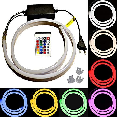 1-5m LED RGB Neon Flex Lichtschlauch - 230V bei 8W/m - Wasserfest - Streifen Band - warmweiß kaltweiß rot - 9,59€/m - Licht (5m)
