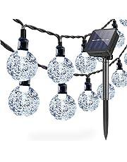 Lichtsnoer op zonne-energie, voor buiten, tuin, 6,5 m, 30 leds, waterdicht, lichtketting, wereldbol, kristallen bol, decoratie, festival, kleurrijk licht voor feest, bruiloft, terras, Kerstmis, decoratie (koud wit)