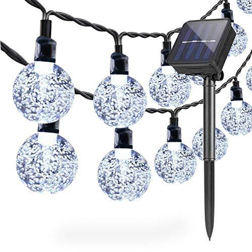 Lámparas solares de cadena Exterior Jardín, 6,5 m 30 LED Impermeable Luces de Hadas Globo Bola de Cristal Decoración Festival Vistoso Luz para Partido Boda Patio Navidad Decoración (Blanco frío)