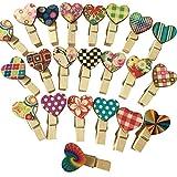 Doitsa 100 Stück Farbe Clips Mini Wäscheklammern Umweltschutz Holz Klammern deko klammern DIY Foto Papier Clips mit Bunt Herz, Lang 3.5cm,Farbe zufällig