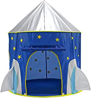 Portable Foldable Play Tent Rocket Ship Folding Tent Kids Children Boy Castle Cubby Play House Kids Gifts Outdoor Toy Tents