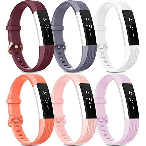 [Pack 6] Bands Compatible with Fitbit Alta HR Bands for Women Men, Soft Silicone Sport Replacement Bands for Fitbit Alta and Fitbit Alta HR (Small, Wine red, Gray, White, Coral, Pink, Lavender)