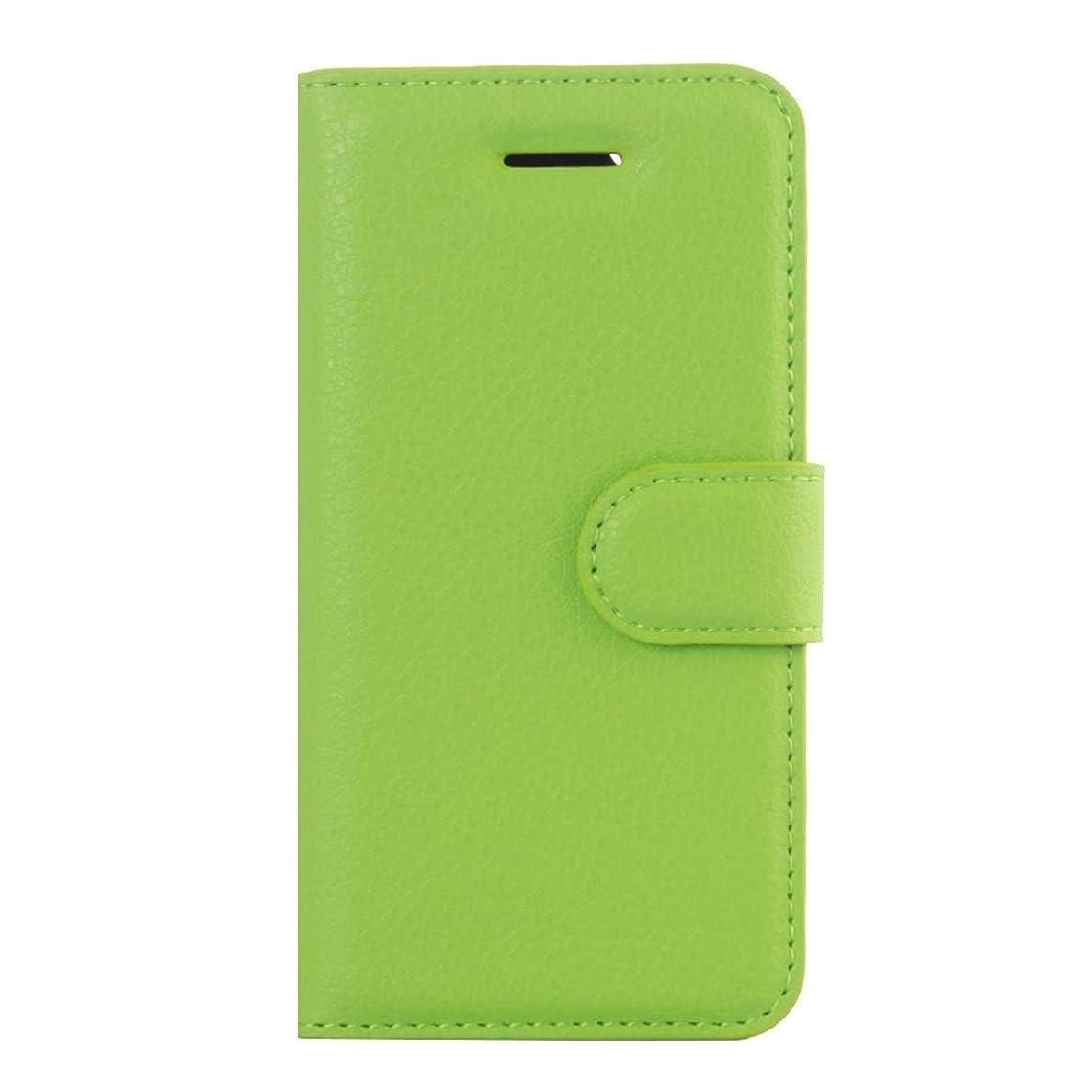 蓄積する夕暮れ自信があるIPhone 5&5s&SE Litchi Texture水平フリップレザーケースホルダー&カードスロット&ウォレット(ブラック)に最適 Yikaja (色 : Green)