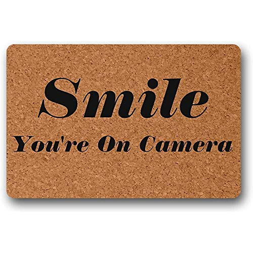 Felpudo Sonríe Estás en la cámara Alfombrilla de Entrada Alfombrilla de Entrada Antideslizante para Puerta Principal de Patio Grande 40X60cm