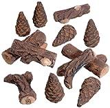 12 unidades Madera cerámica decoración-juego de accesorios para chimenea y el bio-etanol chimenea de madera