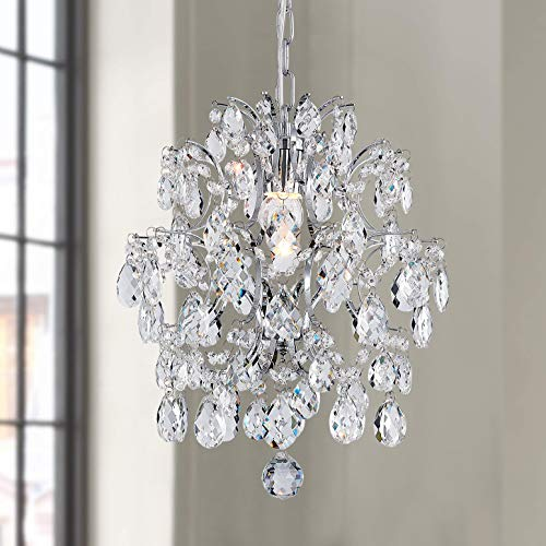Bestier Moderne Anhänger Kronleuchter Kristall Regentropfen Beleuchtung Deckenleuchte Lampe für Esszimmer Badezimmer Schlafzimmer Wohnzimmer 1 E27 Lampen Erforderlich D32cm x H40cm