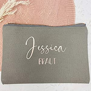 Kosmetikbeutel Braut personalisiert mit Namen – mit Innendruck – Grau Roségold – mit Innenfutter – groß