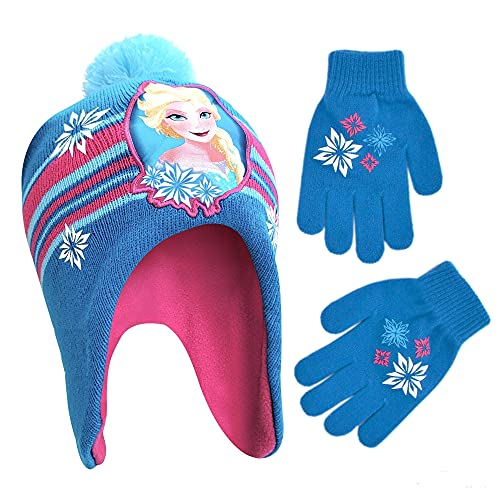 Disney Little Winter Hat, Kids Gloves or Toddlers Mittens, Frozen Elsa and Anna Baby Beanie for Boy GirlAges, Blue/Pink, Age 4-7