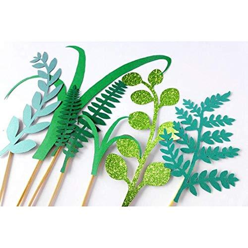 ERFHJ 7 stks/set van groene plant taart top hoed jungle partij kinderen verjaardag decoratie kunstgras blad taart decoratie baby bad benodigdheden