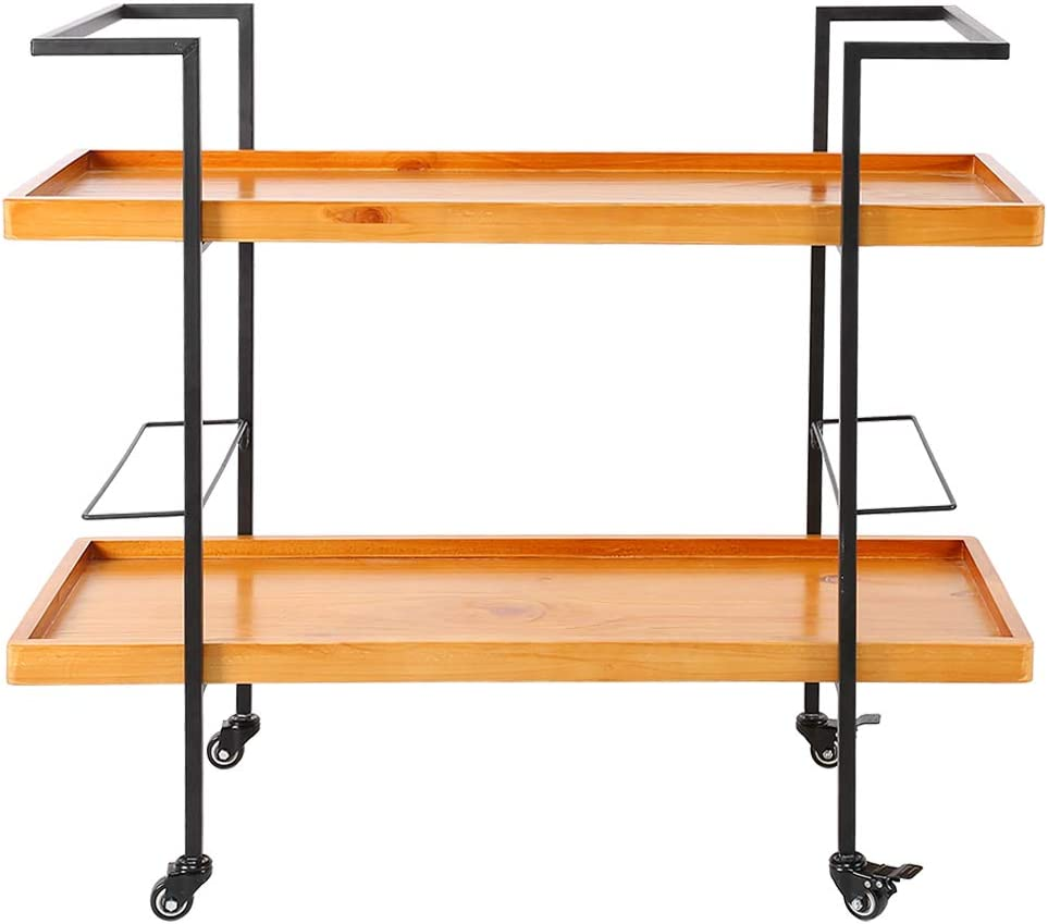 WEILafudong Wooden Cart with Direct store Bar Genuine Metal Wheels Frame