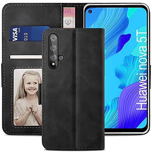 YATWIN Handyhülle Huawei Nova 5T Hülle, Klapphülle Huawei Honor 20 / Nova 5T Premium Leder Brieftasche Schutzhülle [Kartenfach][Magnet][Stand] Handytasche für Huawei Honor 20 / Nova 5T Hülle, Schwarz
