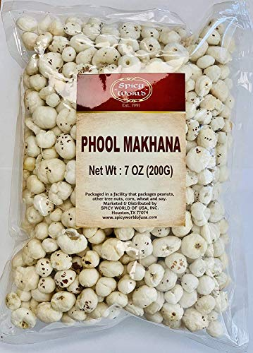 Spicy World Phool Makhana (Fox Nut / Popped Lotus Root Seed / Popped Water Lily Seeds) 200g (7oz) ~ Plain Raw Uncooked   ~ All Natural   Vegan   No Colors   Indian