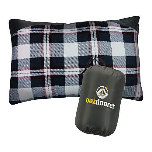 outdoorer Camping- und Reisekissen - rot und weiß kariert, leicht, Kleiner Packsack, Kissen