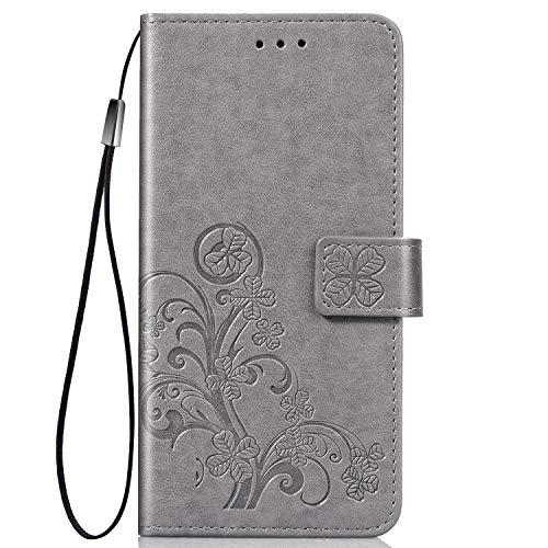 TANYO Hülle Geeignet für Xiaomi Redmi Note 8T, Wallet Tasche Hülle, Retro Blumen Muster Design, [Ultra Slim][Card Slot][Handyhülle] Flip Wallet Hülle. Grau