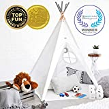 Hippococo Teepee Tent for Kids: Large Sturdy Quality 5 Poles Play House Foldable Indoor Outdoor Tipi Tents, True White Canvas, Floor Mat, Grey Moon Accessory, Family Fun Crafts eBook Included (Grey)