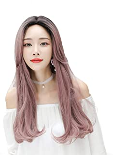 Women's Wave Wig with Liu Hai Synthetic Cosplay Wig Daily Use Medium Length,Hairpieces (Color : 04, Size : 25inch)