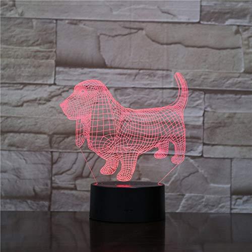 Perro Animal 3D Luz Nocturna ,HHANN 16 Colores Sensor Táctil Y Cable Usb Remoto Lámparas Creative Cumpleaños Regalos Para Niños Decoración Para Dormitorio De...