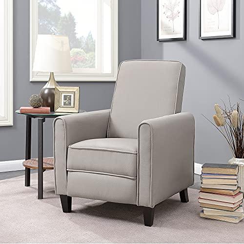 BELLEZE Modern Recliner Club Chair Accent Living Room Linen w/Footrest, Taupe