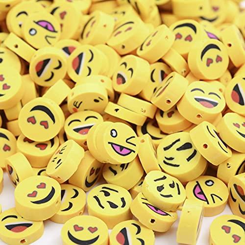 30/50/100 Uds 10mm cuentas de cara sonriente cuentas de arcilla polimérica cuentas espaciadoras sueltas para hacer joyas accesorios de pulsera DIY