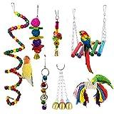 KY-Tech Wellensittich-Spielzeug, 7 Stück, Vogelkäfig-Spielzeug zum Kauen von Vögeln zum Aufhängen, Glockenspielzeug für Wellensittiche, kleine Papageien, Sittiche, Nymphensittiche, Aras, Liebesvögel