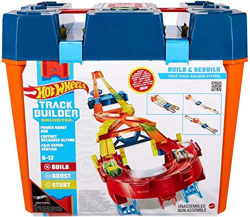 Hot Wheels Track Builder Caja de Acrobacias Premium, pista personalizable con accesorios (Mattel GNJ01)