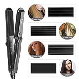 Kreppeisen für Haare, 4 in 1 Haarglätter Kreppeisen Multistyler Keramik Glätteisen und Welleisen haare Temperaturregelung+Schnellaufheizung für Glattes und Crimper Haar - 2