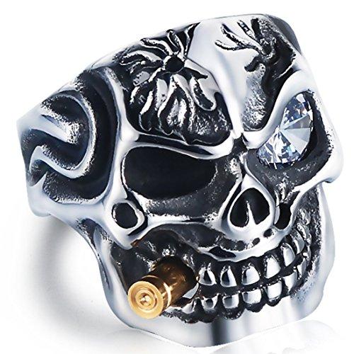 DALARAN Vintage Stainless Steel Gothic Skull Smoking Bullet Biker Cocktail Party Ring Size 8