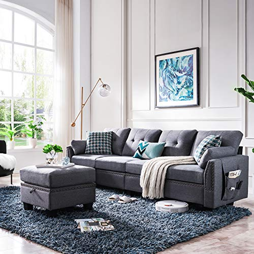 HONBAY Reversible Sectional Sofa Couch
