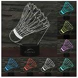 Comiwe Badminton 3D Illusion Nachtlicht Spielzeug,Haus Dekor LED Bettseite Tischlampe 7 Farben Wechseln Berührungssteuerung,Weihnachten Geburtstag Geschenk für Mädchen Junge Kinder Freunde und Familie