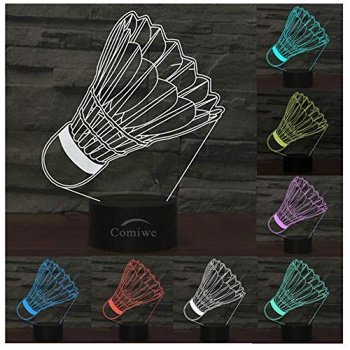 LED-Lampen-Nachtlicht der optischen Illusion 3D,Tolle 7 Farben Schnell Berühren-Schalter,Geburtstags-Weihnachtsferiengeschenk für Kinder und Freunde,Badminton