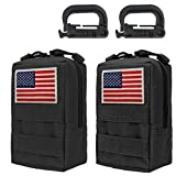 Genleas 2 Pack 1000D Nylon Tactical Molle Pouches Compact EDC Multi-Purpose Compact Tactical Waist Bags Utility Gadget Small Waist Bag Pack with D-Ring Hook