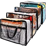 SGHUO Clear Zippered Storage Bag, 60L Large Capacity Clothes Storage Organizers for Bedding, Toys, Blankets, Transparent Totes with Sturdy Zippers, Reinforced Handle, Heavy Duty, 4Pack