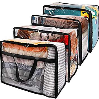 SGHUO Clear Zippered Storage Bag 60L Large Capacity Clothes Storage Organizers for Bedding Toys Blankets Transparent Totes with Sturdy Zippers Reinforced Handle Heavy Duty 4Pack