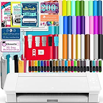 Silhouette White Cameo 4 Starter Bundle with 38 Oracal Vinyl Sheets T-Shirt Vinyl Transfer Paper Class Guides and 24 Sketch Pens