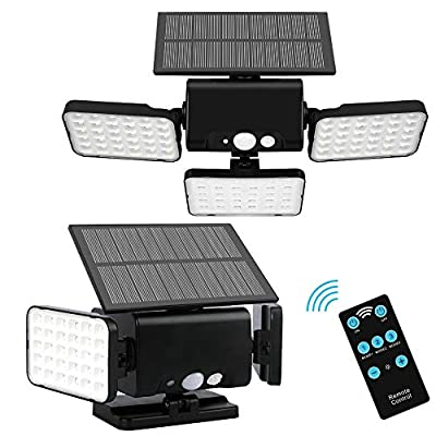 Remote Solar Lights Outdoor,90 LED Adjustable Wireless Motion Sensor Security Solar Night Lighting with 3 Rotatably Heads Remote Control & 3 Lighting Modes for Your Porch,Yard, Garden(2 Pack )