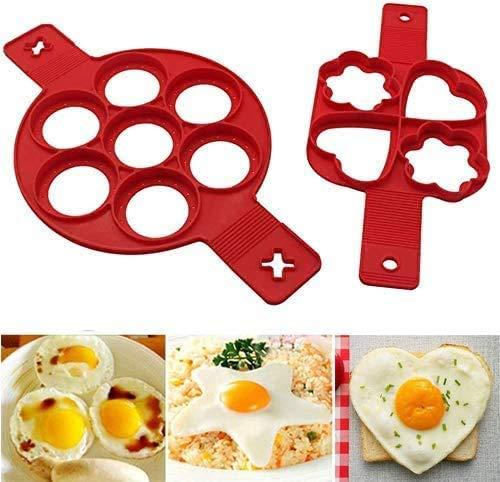 Pancake Moldes Silicona, 2 Packs Antiadherente Moldes de Silicona Pancake, Moldes para Tortita con 7 Agujeros, Herramienta de Cocina Rápida y Fácil, para Hacer Panqueques, Huevos, Muffins