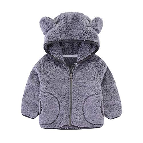 Moent Abrigo de forro polar con capucha, para bebés y niñas, de franela de coral, color sólido, cálido, para invierno, cálido, forro polar, sudadera, cuello de vuelta, ropa exterior