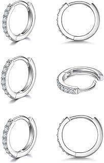 925 Sterling Silver Small Hoop Earrings Cubic Zirconia Huggie Hoop Earrings,3 Pairs Cartilage Piercing Earrings Ear Cuff T...