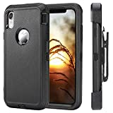 clip for pelican case - Defender Series Rugged Case for iPhone XR Shockproof Case, [Without Screen Protector] Heavy Duty Holster Case Belt Clip + Armor Protective Kickstand Cover for iPhone XR 6.1 Inch (2018 Released) Black